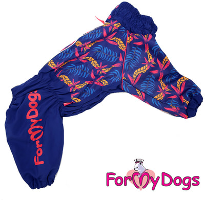 ForMyDogs Дождевик для крупных собак Листья синий девочка (фото)