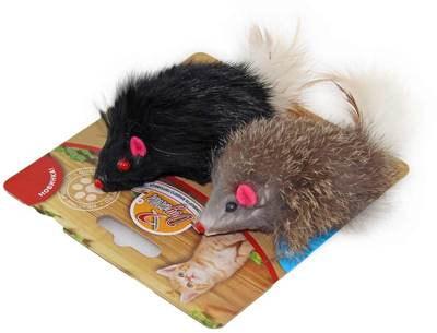 DOGMAN Мышка меховая гремящая с пером (фото)