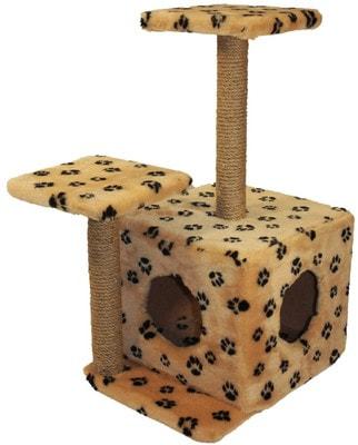 Smartpet Домик для кошек Бежевый с лапками с двумя входами и двумя когтеточками