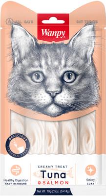 Wanpy Лакомство для кошек «нежное пюре» из тунца и лосося (фото)