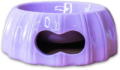 КерамикАрт Миска керамическая с полосками 17х6,5см, лиловая (фото)