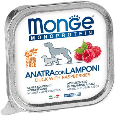 Консервы Monge Dog Monoprotein Fruits для собак паштет из утки с малиной (фото)