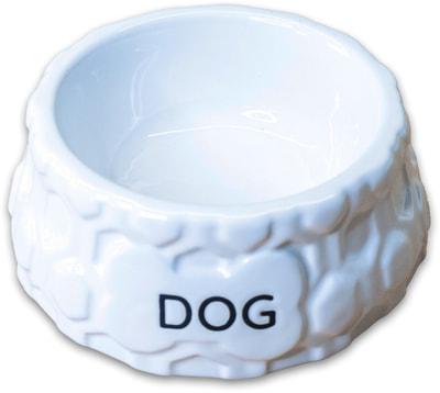 КерамикАрт Миска керамическая для собак DOG белая (фото)