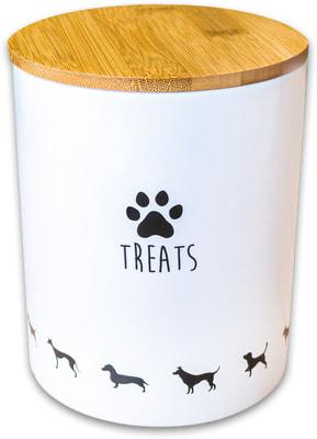 КерамикАрт Бокс керамический для хранения лакомств для собак белый (фото)