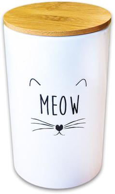 КерамикАрт Бокс керамический для хранения корма для кошек MEOW белый (фото)