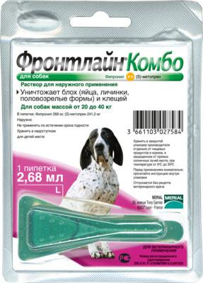 Boehringer Ingelheim Фронтлайн Комбо для собак – для защиты от клещей, блох в форме капель (фото)