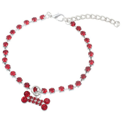 DooKiipet Ожерелье для собак Косточка красная
