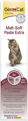 GimCat Паста для кошек для вывода шерсти из желудка Malt-Soft Paste Extra (фото)
