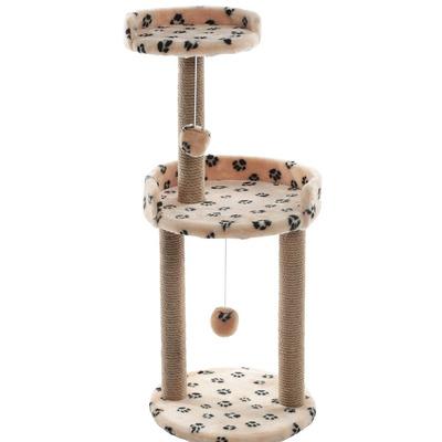 Smartpet Когтеточка с круглой площадкой и игрушкой Бежевый с лапками