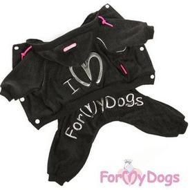 ForMyDogs Костюм махровый черный на собак мелких пород
