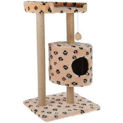 Smartpet Игровой комплекс для кошек с домиком и лежанкой Бежевый с лапками