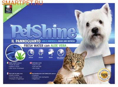Petshine Очищающая варежка-салфетка для собак и кошек увлажняющая с алое вера