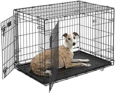 """MidWest Клетка iCrate Double Door 36"""" двухдверная для щенков и средних собак, черная (фото)"""