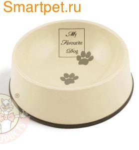 Beeztees My Favorite Миска для собак керамическая коричневая окантовка