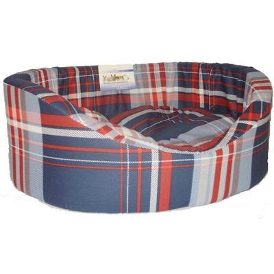 Бобровый дворик Лежак овальный с бортиком Шотландка синяя