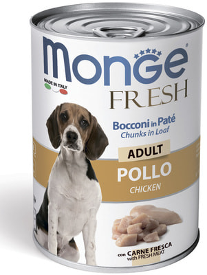 Monge Dog Fresh Chunks in Loaf консервы для собак мясной рулет с курицей (фото)
