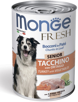 Monge Dog Fresh Chunks in Loaf консервы для пожилых собак мясной рулет с индейкой и овощами (фото)