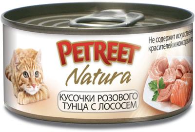 Petreet Консервы для кошек Кусочки розового тунца с лососем