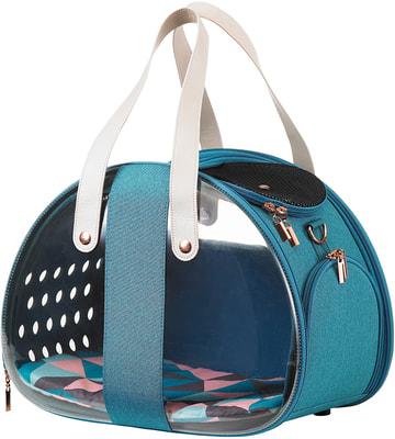 Ibiyaya Складная сумка-переноска для собак и кошек до 6 кг прозрачная/бирюзовая (фото)