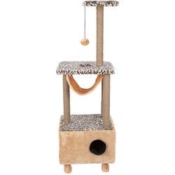 Велес Домик-когтеточка 3-х уровневый квадратный на ножках с гамаком