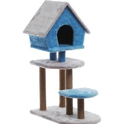 Велес Домик-когтеточка 3-х уровневый с домиком Скворечник
