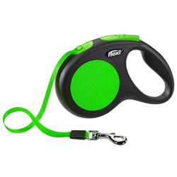 Поводок-рулетка flexi New Neon M (до 25 кг) лента 5 м, зеленый
