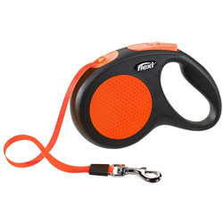 Поводок-рулетка flexi New Neon M (до 25 кг) лента 5 м, оранжевый