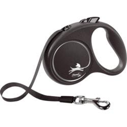 Поводок-рулетка flexi Black Design S, лента 5м, для собак до 15кг