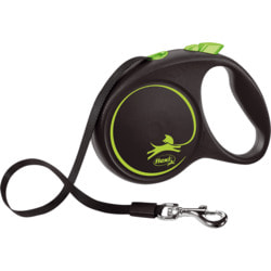 Поводок-рулетка flexi Black Design M, лента 5м, для собак до 25кг