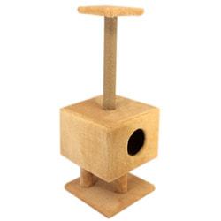 Smartpet Домик-когтеточка для кошек Квадратный на ножках с полочкой, бежевый
