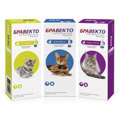 Intervet Бравекто капли спот-он от блох и клещей для кошек
