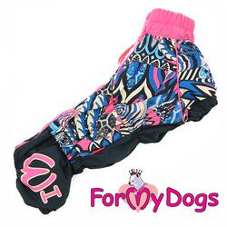 ForMyDogs Дождевик для такс черно-розовый на девочку