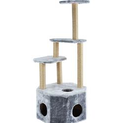 Smartpet Домик когтеточка для кошек с большим домиком, 4 яруса, серого цвета