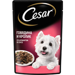 Cesar Пауч для собак Говядина и Кролик в соусе со шпинатом