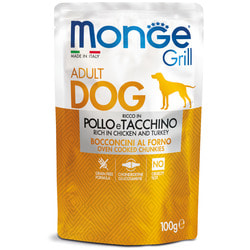 Monge Dog Grill Pouch паучи для собак курица с индейкой