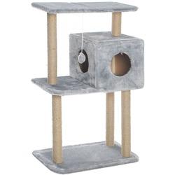 Smartpet Домик когтеточка для кошек с квадратным домиком и верхней полкой серого цвета