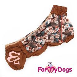 ForMyDogs Дождевик для таксы Цветы, коричневый для девочек