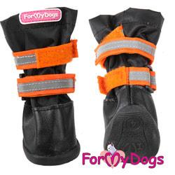 ForMyDogs Сапоги для крупных собак на резиновой подошве Оранжевые с высоким чулком