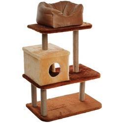 Велес Игровой комплекс для кошек 3-уровневый с Домиком и лежаком на площадке