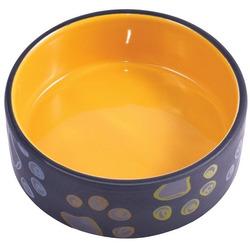 КерамикАрт Миска керамическая для собак черная с желтым