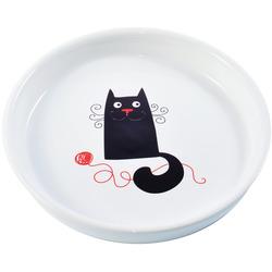 КерамикАрт Миска керамическая для кошек белая с кошкой