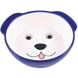 КерамикАрт Миска керамическая для собак Мордочка собаки синяя