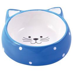 КерамикАрт Миска керамическая для кошек Мордочка кошки голубая