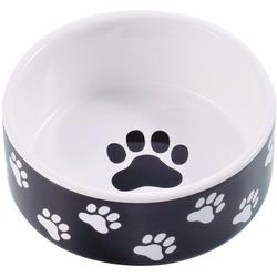 КерамикАрт Миска керамическая для собак черная с лапками