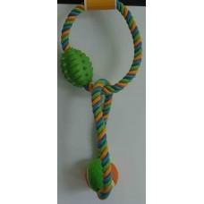 Chomper Игрушка веревочная с флисовым и резиновым мячами для собак