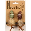 Mon Tero ЭКО Игрушка для кошек Мышки с перьями с кошачьей мятой