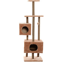 Smartpet Игровой комплекс для кошек с двумя домиками Высокий бежевый