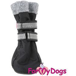 ForMyDogs Сапоги для собак на флисе Черные, на подошве ПВХ