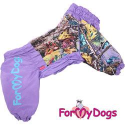 ForMyDogs Дождевик для больших собак Лес фиолетовый на девочку