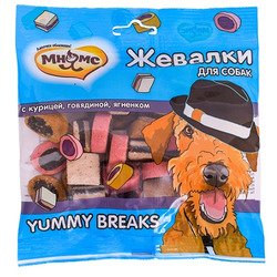 Мнямс Лакомство для собак Жевалки YUMMY BREAKS с курицей, говядиной и ягненком